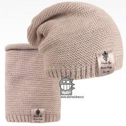 Čepice pletená a nákrčník Colors set - vzor 02 - béžová