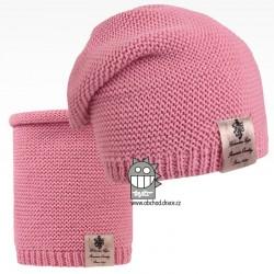 Čepice pletená a nákrčník Colors set - vzor 04 - růžová